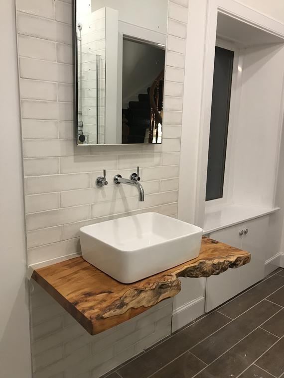 Rustic Vanity Basin Character Natural Wood Shelf Countertop Etsy Vanity Shelves Rustic Vanity Vanity Basin