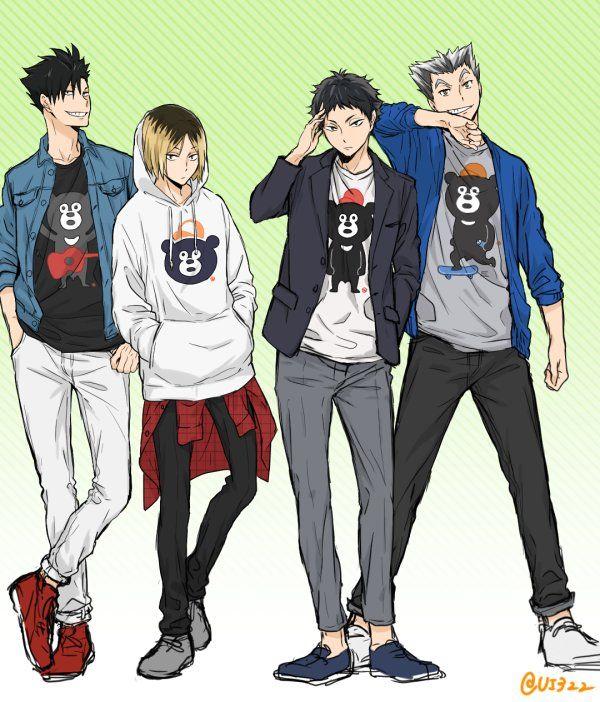 Haikyuu!! (ハイキュー!!) - Koutarou Bokuto x Keiji Akaashi (BokuAka) (木赤) and Tetsurou Kuroo x Kenma Kozume (KuroKen) (黒研)