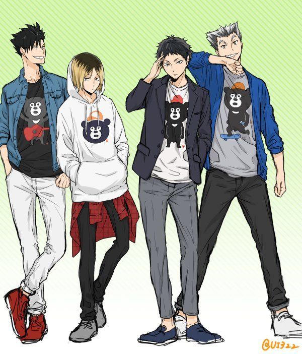 Haikyuu! - Kuroo Tetsurou, Kozume Kenma, Akaashi Keiji, Bokuto Koutaro