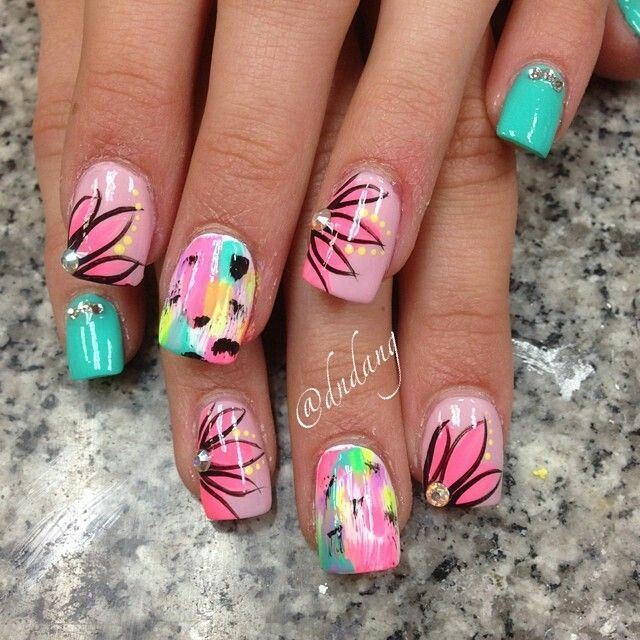 Summer floral nailart...a bit much for my taste but super cute on one or two nails