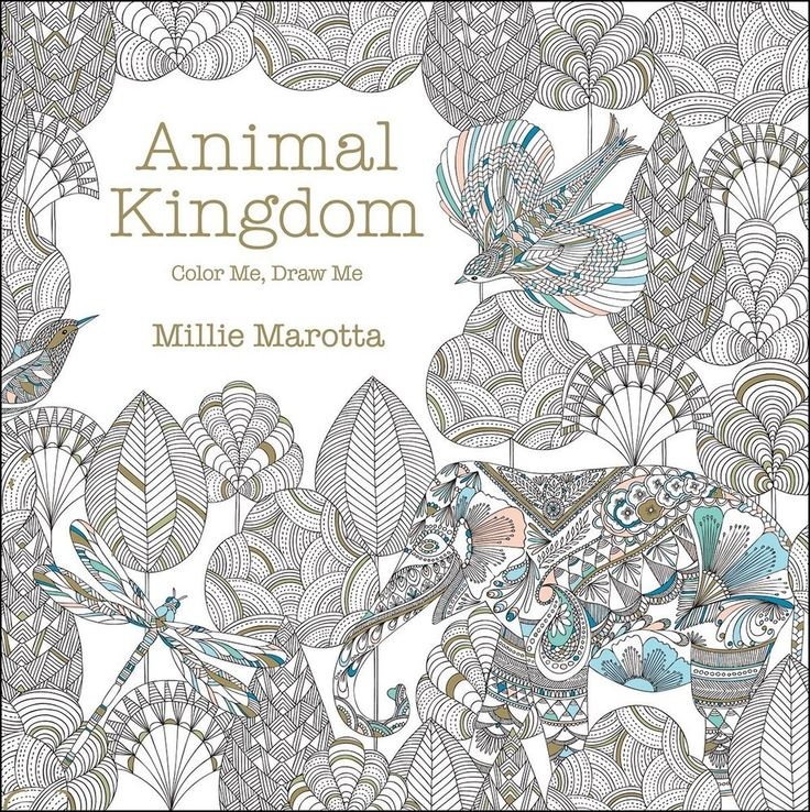 Animal Kingdom Adult Coloring Book Stress Relief Patterns Designs Fun Relaxation