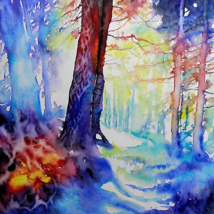 Cristina Dalla Valentina - Splendore nel bosco 40 x 40 cm acquerello su carta, originale, firmato, senza cornice watercolor on paper, original, signed, unframed € 145 #watercolor #painting #art