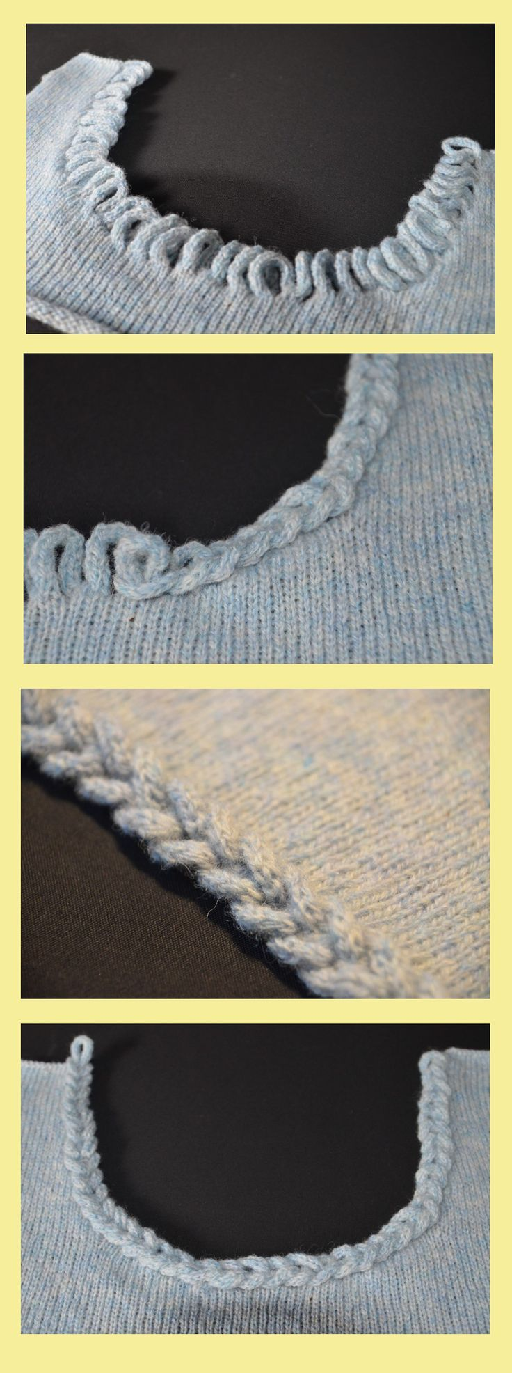 Braided neckline. Pick up 2 stitches, knit 16-20 rows, pick up the next 2 stitches