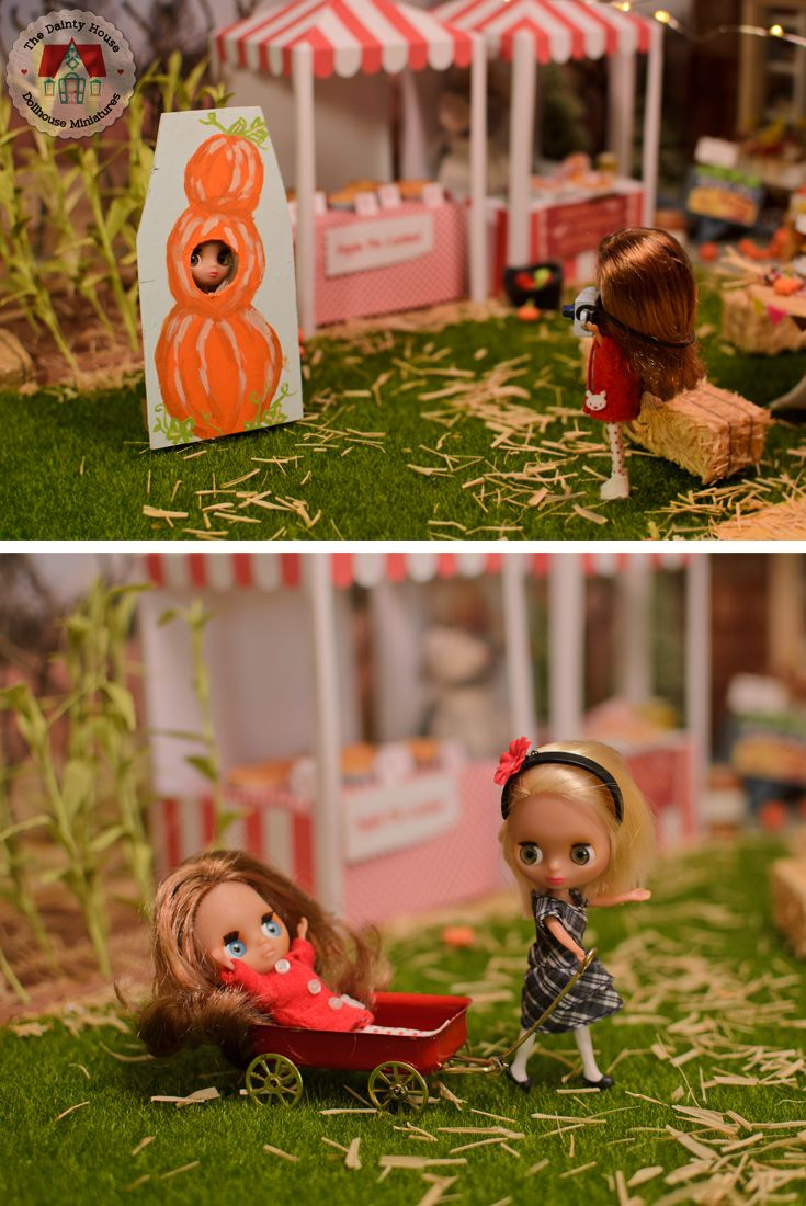 The mini Blythe friends have some fun at the harvest festival in 1:12 scale.