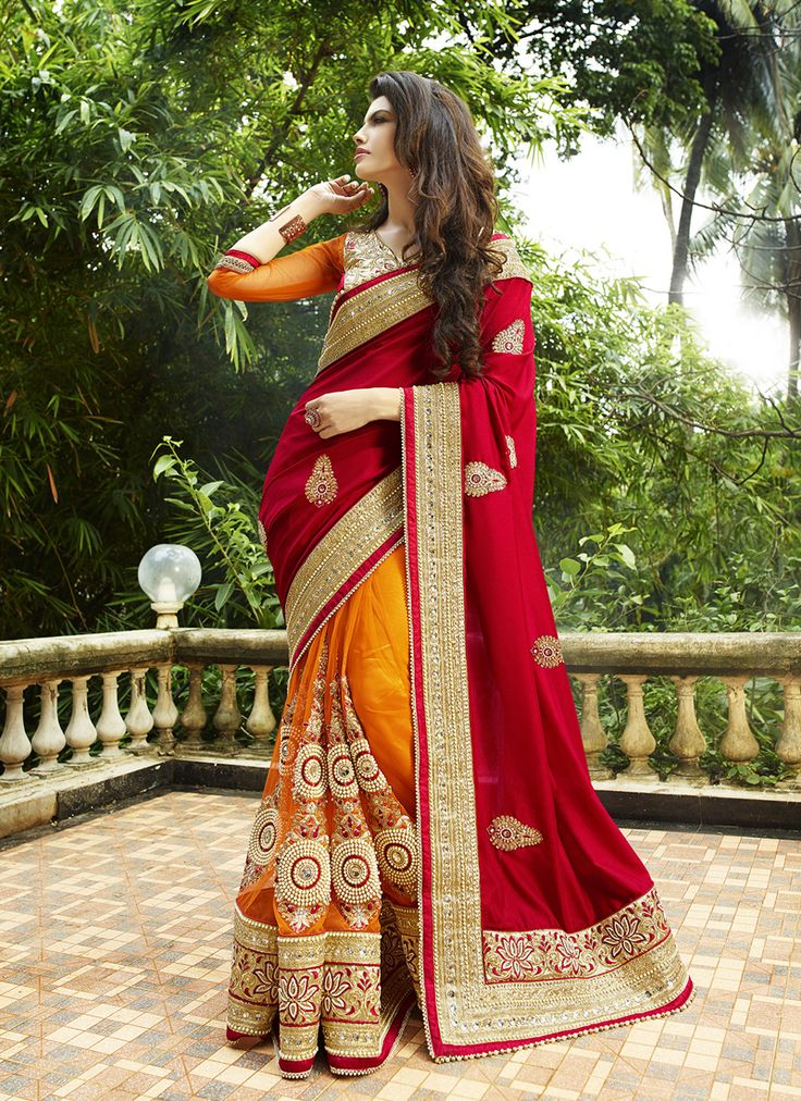 #Orange & #Red Colour #Net & #Georgette #Saree. Lovely #floral #embroidery and #exotic #colours come together to define this #beautiful #saree.  Contact to Buy : +91-9377111620