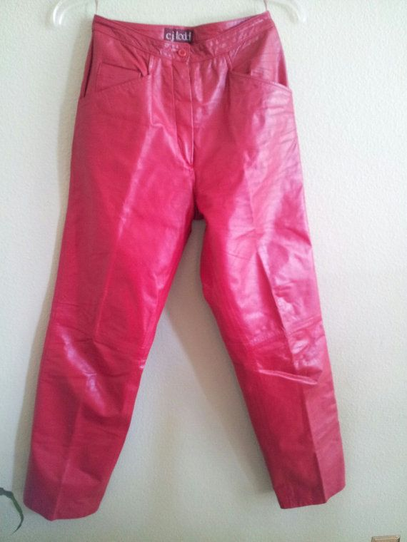 Beautiful Red Leather Pants by cj Todd for Saks by DenimSurprises, $25.00.