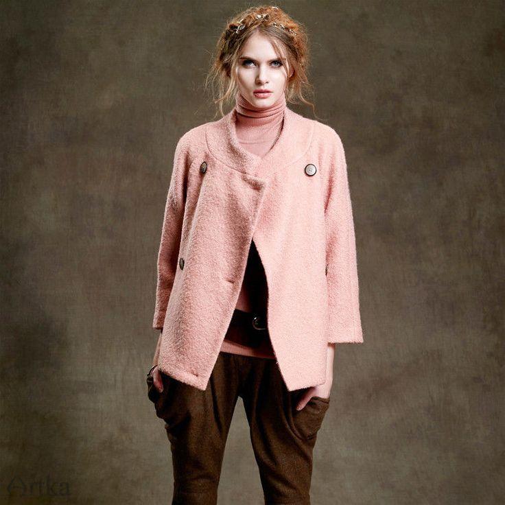 NWT ARTKA Pink Wool Blend Jacket Coat Sz Ch L US Small #Artka #BasicJacket