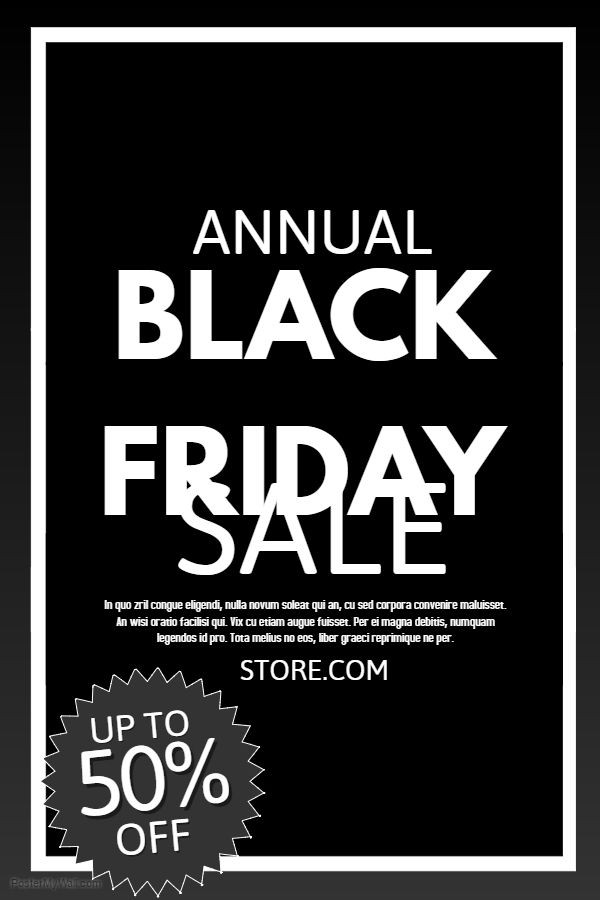 Black Friday Sale Poster. Click on the image to customize on PosterMyWall.