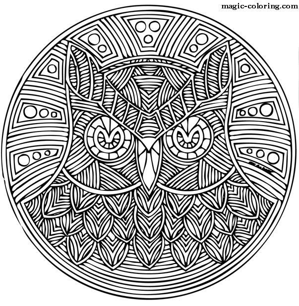 owl mandala adult colouring pages pinterest coloring mandala coloring pages and mandala. Black Bedroom Furniture Sets. Home Design Ideas