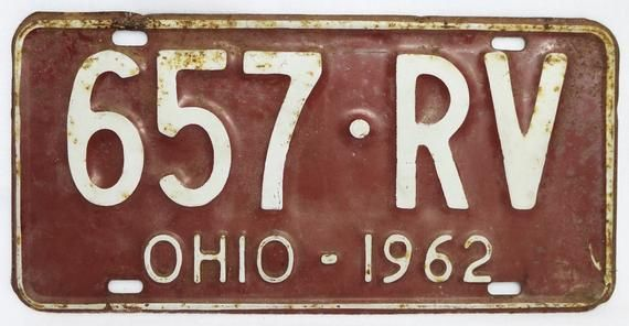 Vintage 1962 License Plate Ohio Hot Rod Muscle Car Historical Etsy License Plate Hot Rods Vintage