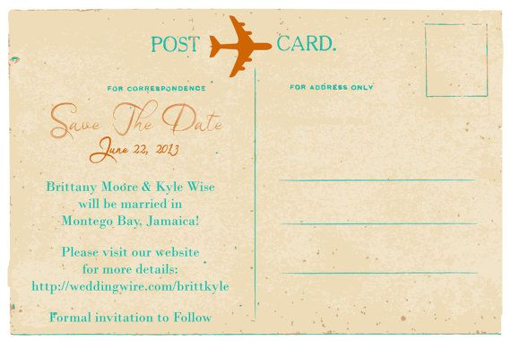 Postcard Save The Date DEPOSIT: Jamaica Beach by TheStylishScribe