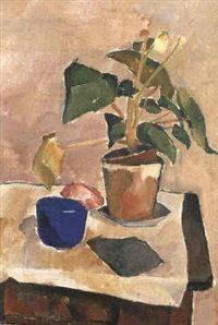 Olaf Rude Kubistisk nature morte med potteplante, blå skal, klud og frugt, 1920
