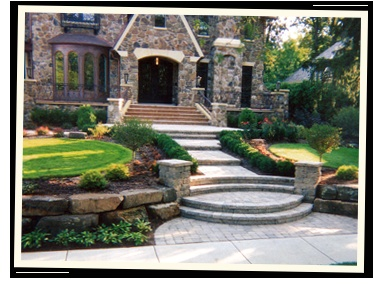 Front door steps & walkway idea.  I love the curves.