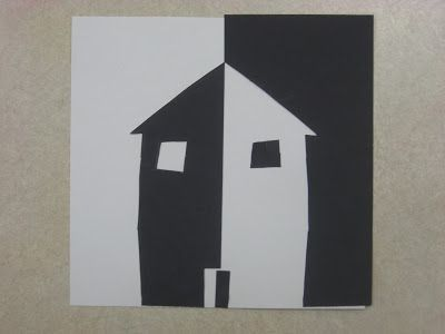 """Reversal Art. Learning about negative and positive space. We did this picture with cut paper. The students started with a 6"""" x 6"""" white paper, and a 3"""" x 3"""" black paper, and used every scrap; if they cut a circle from the left side, they glued it on the right. I really like the results, and I think that the students grasped the concept of negative and positive space since we talked about how it switches halfway through. One side has black negative space; the other side has white negative…"""