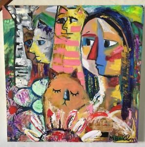 Huge Picatso Original Acrylic Painting By Melissa Bollen Picasso Style Cubist  | eBay
