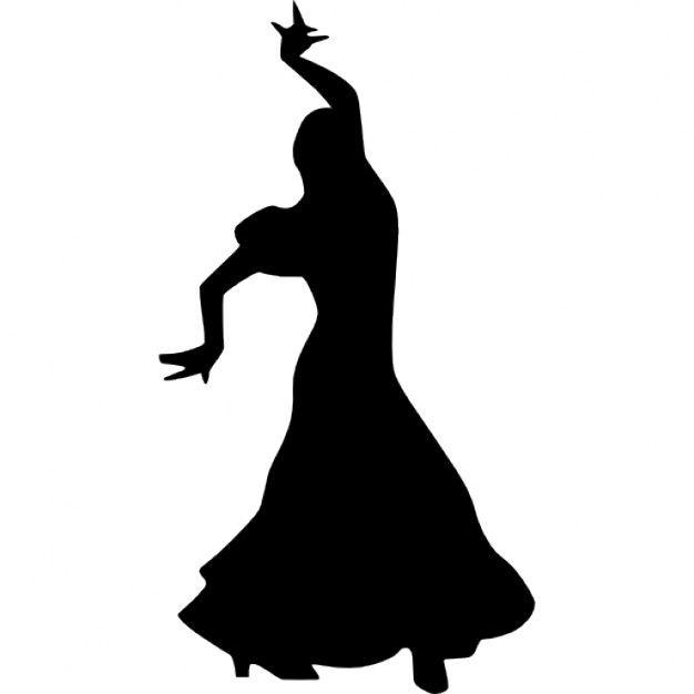 Femme danse flamenco silhouette Icon gratuit