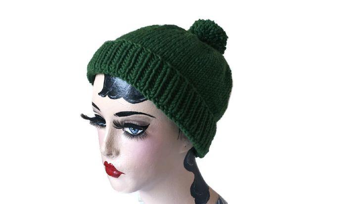 Green Pom Pom Hat Merino Lambswool Wool Ski Beanie Retro Vintage Beat by thekittensmittensuk on Etsy