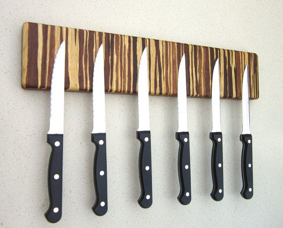 Eco Friendly Magnetic Knife Holder Bar  Tiger Stripe. Wall Mounted.