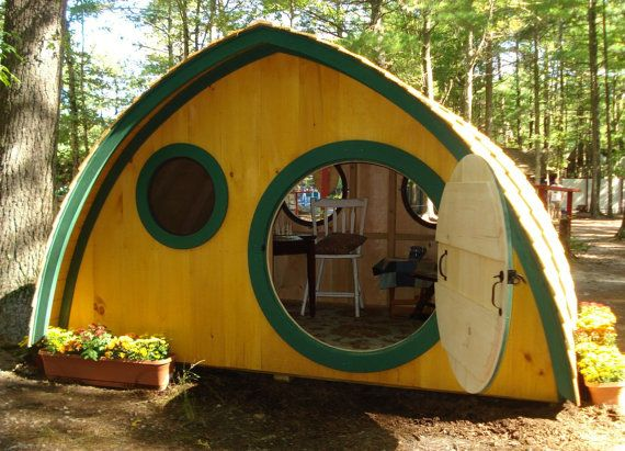 Large Hobbit Hole Playhouse Kit WITH Cedar Roofing: outdoor wooden kids clubhouse with round front door and windows, made to order