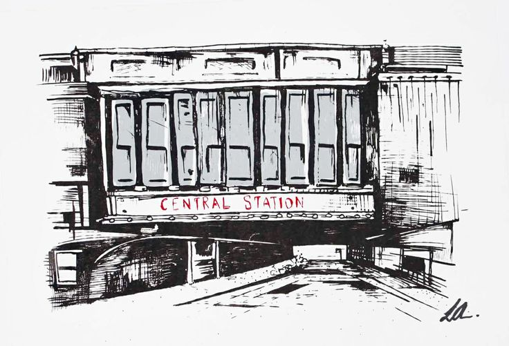 Glasgow Central Station screen print