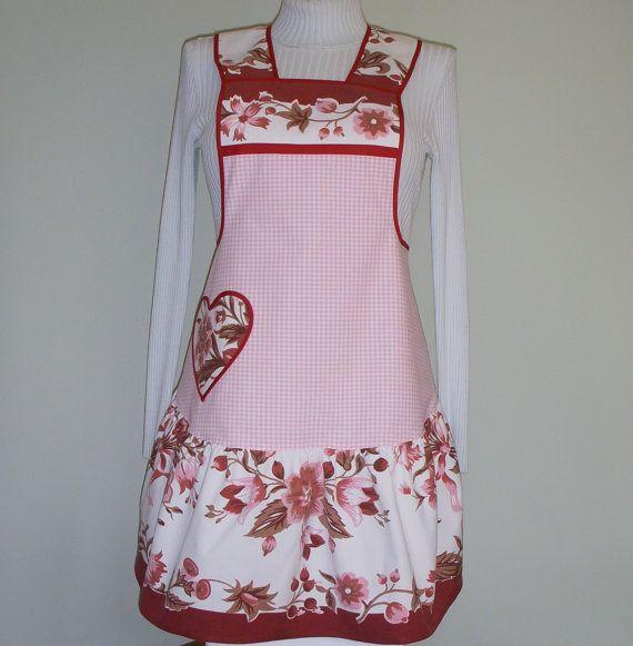 Handmade Heart Apron, Vintage Tablecloth Fabric, 1940s Style. $28.00, via Etsy.