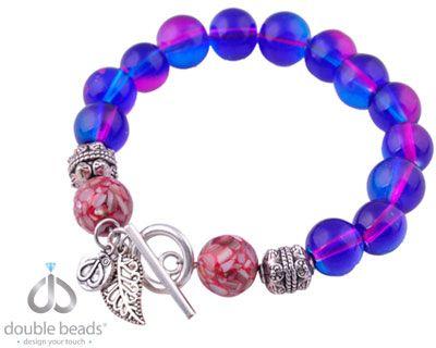 www.snowfall-beads.nl - DoubleBeads Creation sieradenpakket armband glas, parelmoer, metalen kralen en metalen hanger/bedel (inclusief handleiding)