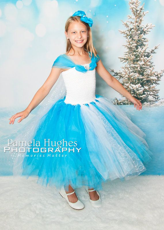 Queen Elsa dress with matching hair bow by BooboosBowsandTutus, $55.00