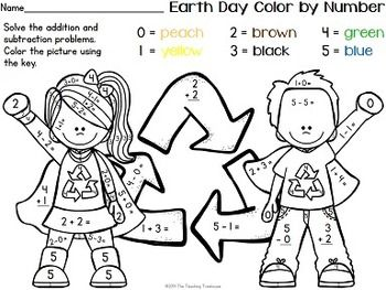 earth day color by number addition subtraction within 10 tpt math lessons color earth. Black Bedroom Furniture Sets. Home Design Ideas
