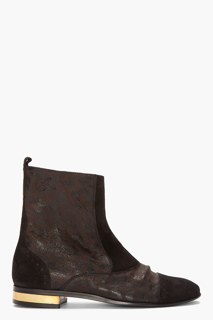 Golden Goose Brown Leopard-print English Men Ankle Boots