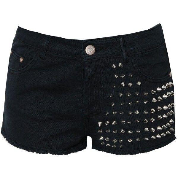 Glamorous Studded Denim Shorts ($22) ❤ liked on Polyvore featuring shorts, bottoms, pants, short, black, black hot pants, black shorts, jean shorts, short shorts and high rise denim shorts