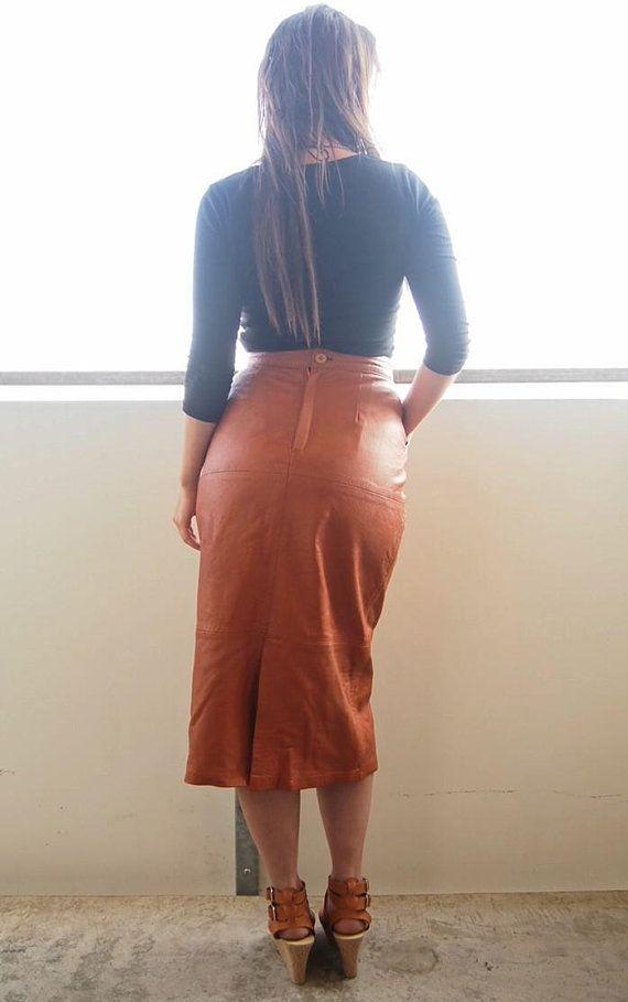 7b14e305dbe083 Pencil skirt, Leather skirt, Long skirt, Vintage clothes, Vintage ...