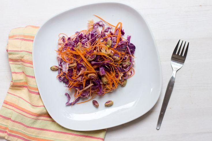 Red cabbage with pistachio is a perfect and healthy dish for cold days. With a preparation time of only 10 mins it's a great office lunch recipe.