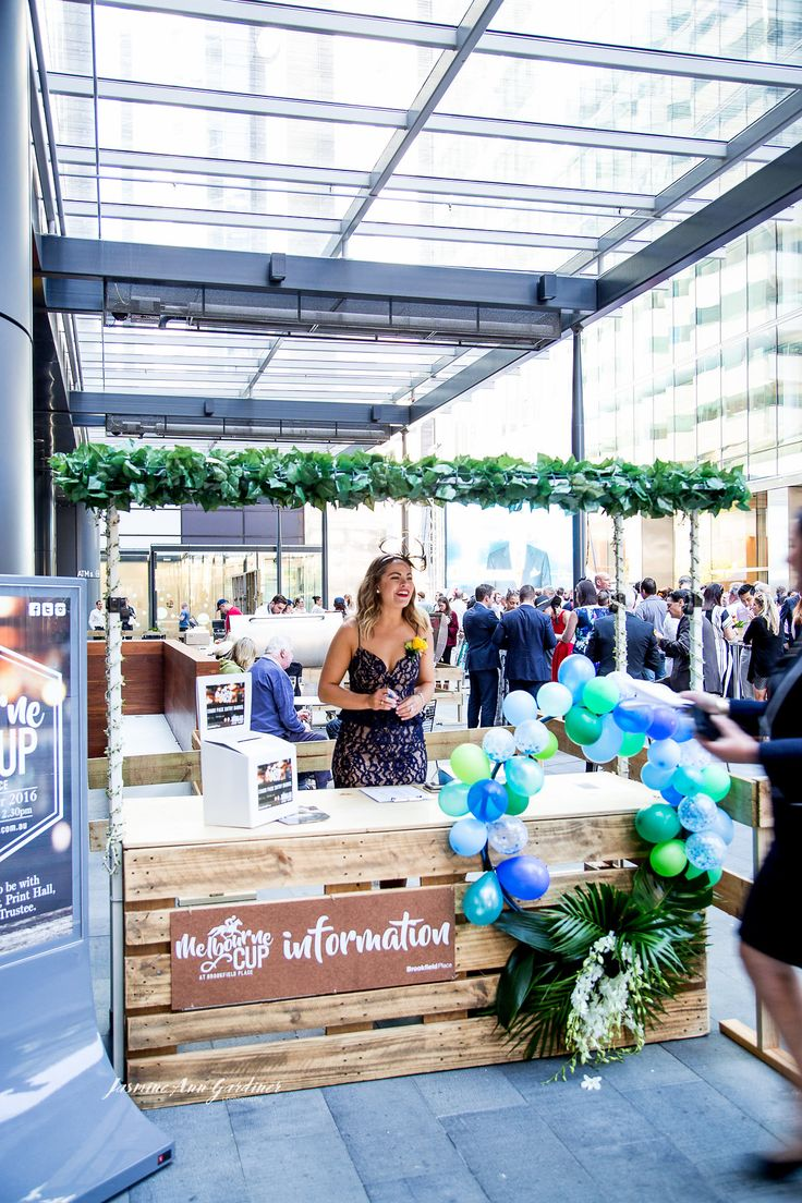 DY.o events (aka Duo)  Melbourne Cup Information Booth Fun event styling - blue, greens and whites.