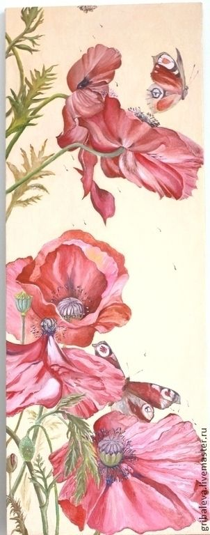 Картина маслом Конец лета Маки 30 на 80 см - кремовый,маки,картина маки