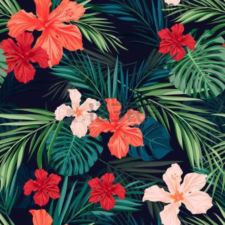 patron floral: Verano colorido patrón transparente hawaiano con plantas tropicales y flores de hibisco, ilustración vectorial Vectores