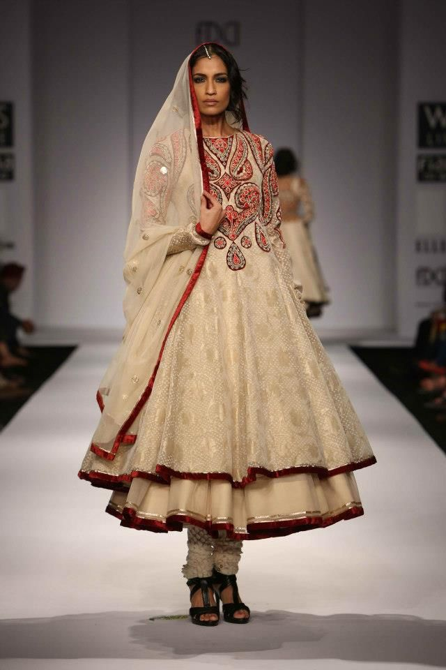 Rich and royal in red embroidered white layered #anarkali