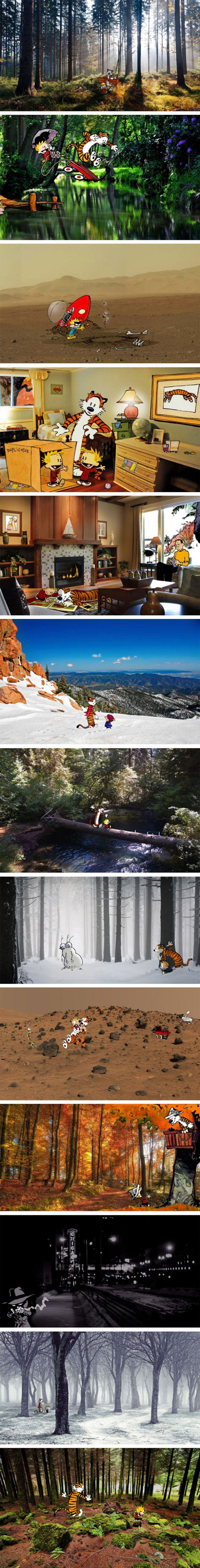 Calvin and Hobbes In Real Locations<<<<< This tickled me in all of my happy childhood spots :))
