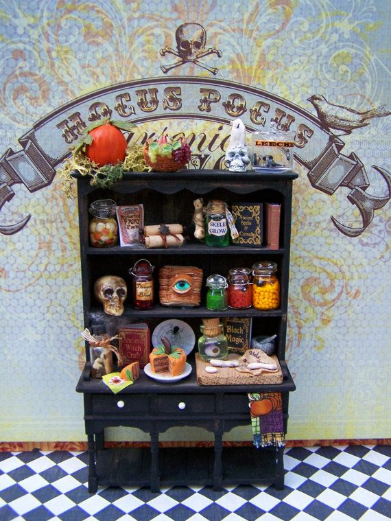 Dollhouse Miniature Wicked Alchemy Witch's Kitchen Hutch Cabinet