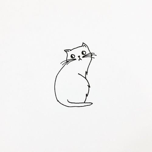 25 best ideas about cute cat drawing on pinterest for Simple black and white drawing ideas