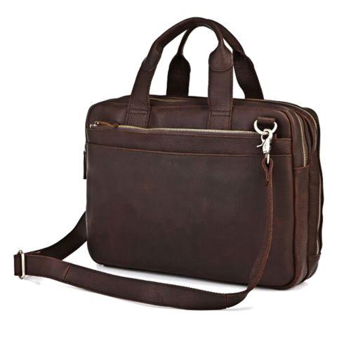 Crazy Horse Leather Men's Dark Brown Laptop Bag Handbag Briefcas