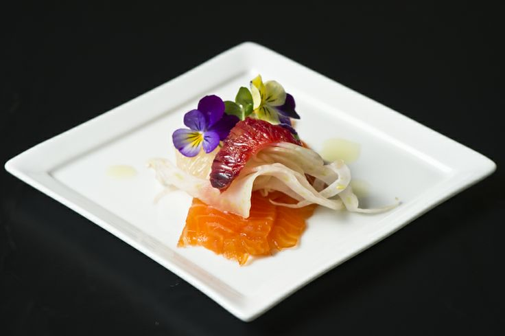 Spring Racing delights... Salmone al finocchietto - fennel cured tasmanian salmon, citrus segments, shaved young fennel, chilli & spring flowers, extra virgin olive oil #MelbourneCupCarnival2013 #food #canapes #glutenfree