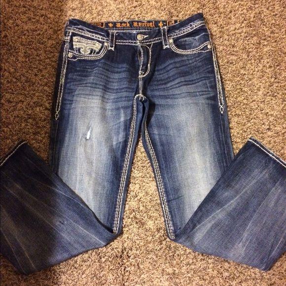 Rock Revival Light Wash Women's Angie B6 Fleur-de-lis Pocket Boot Cut Jeans. $ $ Rock Revival Blue Medium Wash Posey B17 Fleur-de-lis Pocket X 34
