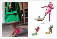 Explosie modellen 2014 nieuwe vrouwen sophia webster kleurrijke vlinder hakken sandalen pompen 10 cm dunne hak peep teen schoenen(China (Mainland))