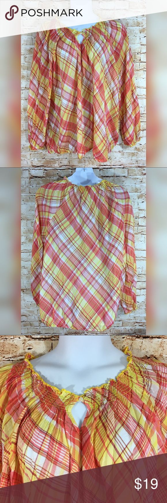 NEW Lane Bryant Plaid Peasant Keyhole Smock Top Brand new, never worn. Plus size yellow and orange Plaid shirt. Please see pics for measurements and more details (: Lane Bryant Tops Tees - Long Sleeve