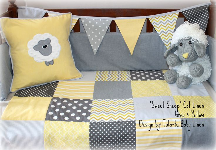 """Sweet Sheep"" nursery linen in shades of grey & yellow. Linen are made to order by Tula-tu Baby Linen. View more designs on our website: www.tulatu.co.za"