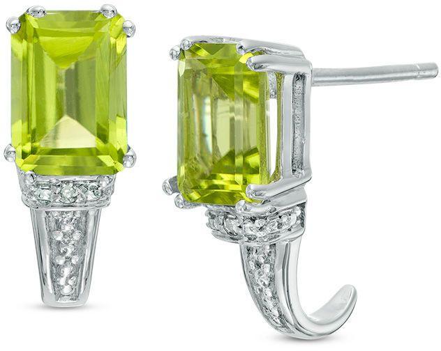 Zales Emerald-Cut Peridot and Diamond Accent Drop Earrings in 10K White Gold