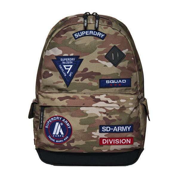 Superdry Platoon Montana Rucksack (£38) ❤ liked on Polyvore featuring men's fashion, men's bags, men's backpacks, green, mens one strap backpack, mens camo backpack and mens backpack