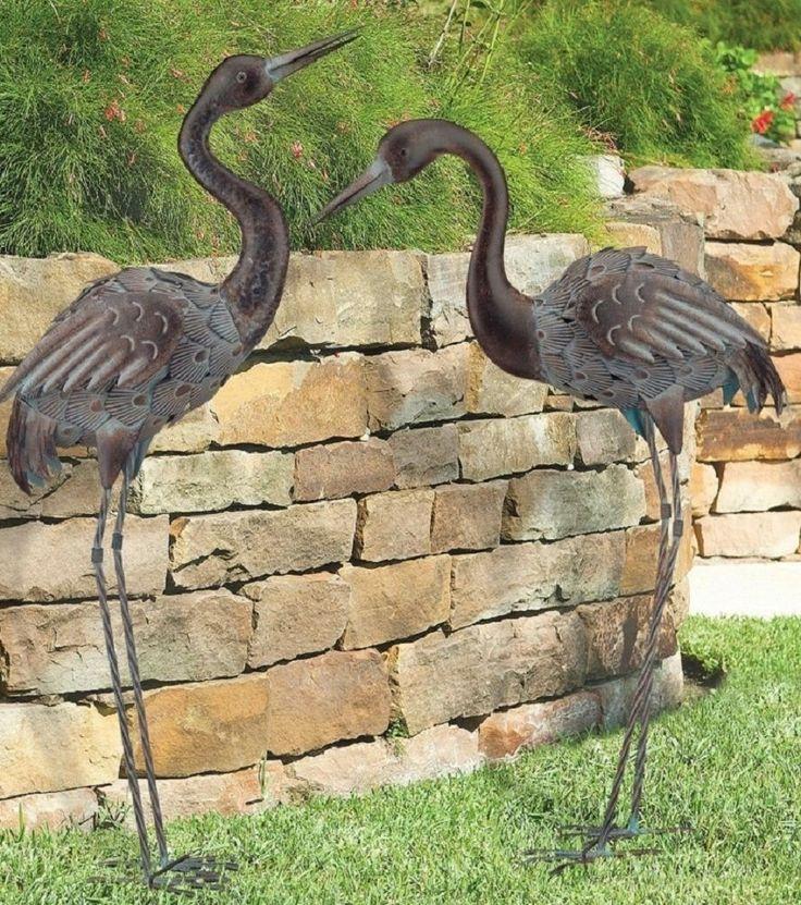 Bronze Crane Pair Metal Garden Statues Mystical Bird Yard Art Heron Sculpture Gardens Herons