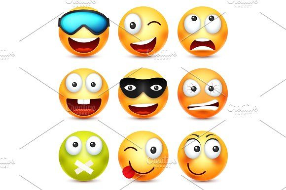 Smiley with glasses,smiling,angry,sad,happy emoticon. Yellow face with emotions. Facial expression. 3d realistic emoji. Funny cartoon character.Mood. Web icon. Vector illustration. Graphics Smiley with glasses,smiling,angry,sad,happy emoticon. Yellow face with emotions. Facial expression by 32pixels