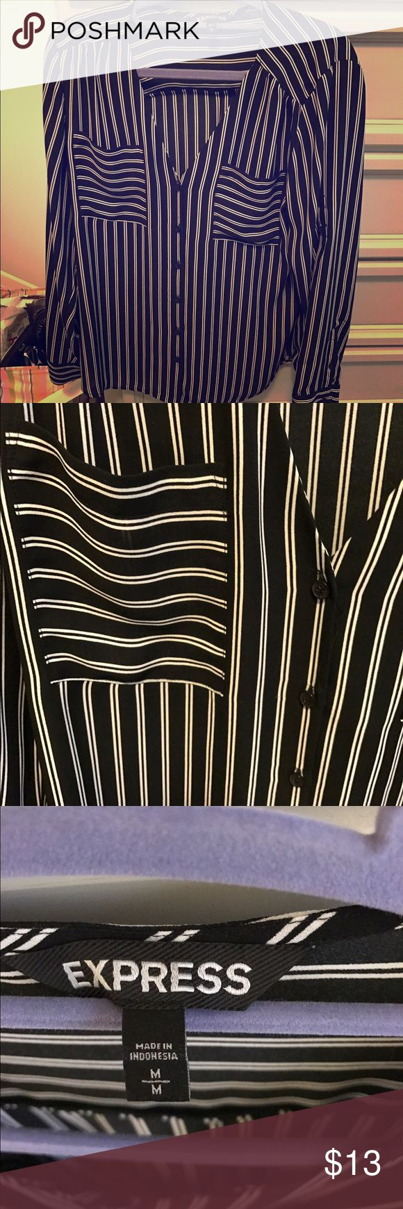 Express portofino shirt w/o collar Express portofino shirt without collar, black with white stripes, hardly worn Express Tops Button Down Shirts